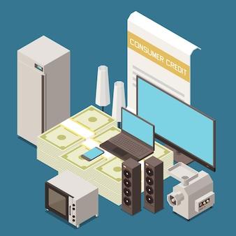 冷蔵庫、テレビ、コンピューター、台所用品で家庭用品の等角組成を購入するための消費者のマイクロクレジット