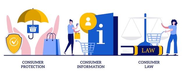 Концепция защиты потребителей, информации и права с крошечными людьми. набор абстрактных векторных иллюстраций регулирования прав покупателей. судебное соглашение, служба правовой защиты, метафора прав покупателя.