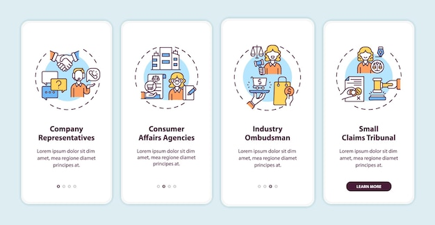 Consumer protection services onboarding mobile app page screen with concepts. industry ombudsman walkthrough 4 steps graphic instructions.