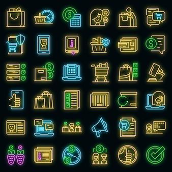 Набор иконок прав потребителей. наброски набор векторных иконок прав потребителей неонового цвета на черном