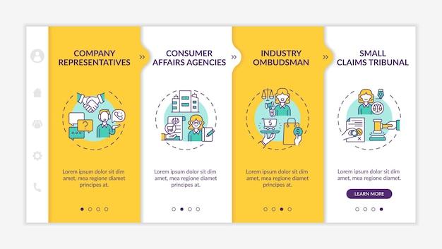 Шаблон вектора адаптации защиты прав потребителей. адаптивный мобильный сайт с иконками. веб-страница прохождение 4-х шаговых экранов. представитель компании, отраслевой омбудсмен, цветная концепция с линейными иллюстрациями
