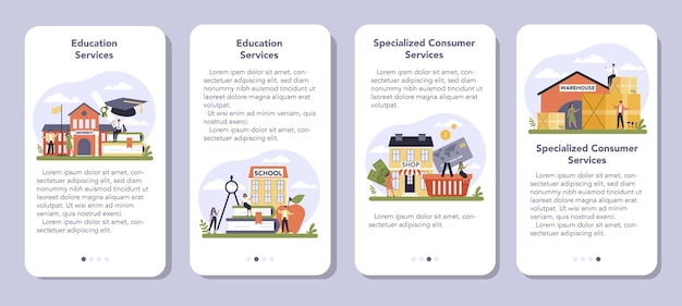 Consumer service sector of the economy mobile application banner set