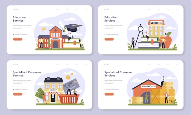 Consumer service sector of the economy web banner or landing page set