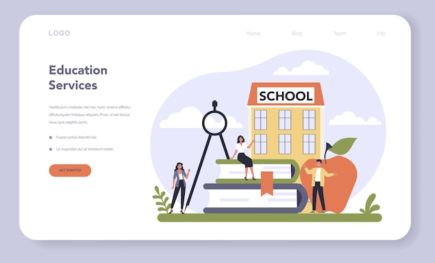 Consumer service sector of the economy web template or landing page . education service. school and university education. vector illustration