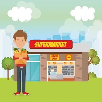 食料品の買い物袋を持つ消費者