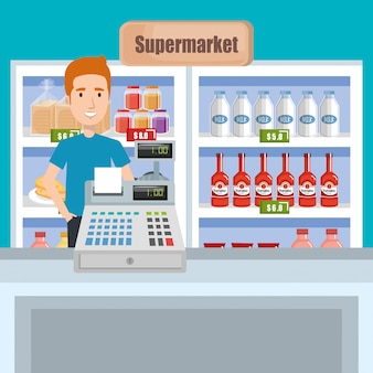 Consumer with supermarket groceries
