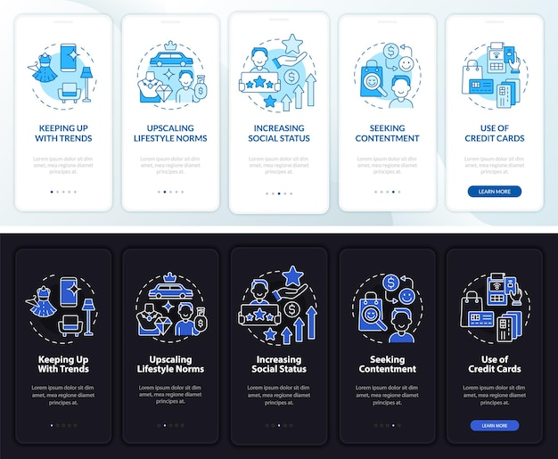 Consumerism motivation dark, light onboarding mobile app page screen. walkthrough 5 steps graphic instructions with concepts. ui, ux, gui vector template with linear night and day mode illustrations