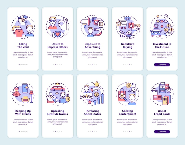 Consumerism onboarding mobile app page screen set. excessive buying reasons walkthrough 5 steps graphic instructions with concepts. ui, ux, gui vector template with linear color illustrations