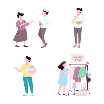 Consumers flat color faceless characters set. woman at garage sale, guy eating take away dinner. people drinking coffee, man with garbage isolated cartoon illustrations on white background