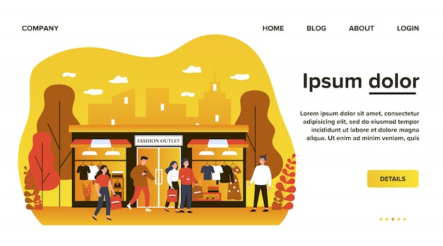 의류 부티크 평면 그림에서 쇼핑하는 소비자. 패션 스토어, 쇼핑몰 또는 상점 근처의 도시 거리를 걷는 행복한 사람들. 소매 및 패션 아울렛 개념