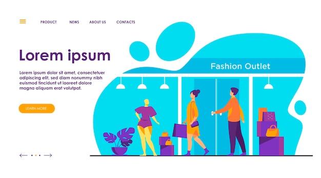 I consumatori che camminano lungo la strada vicino all'illustrazione piana del negozio di abbigliamento