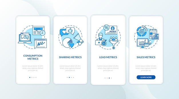 Consumption and leads metrics onboarding mobile app page screen with concepts. smm strategy efficiency stats walkthrough 5 steps graphic instructions. ui vector template with rgb color illustrations