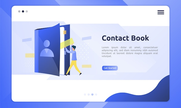 Contact book icon in a flat illustration