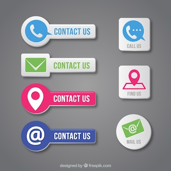Contact button set in flat design
