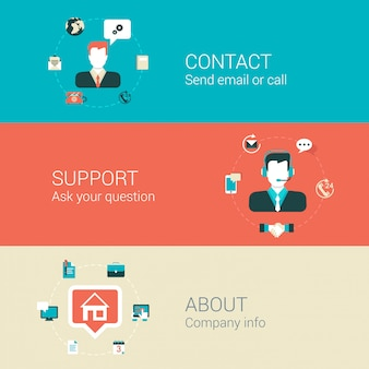 Contact email call support about company illustrations set.