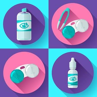 Контактные линзы, контейнер, суточный раствор, глазные капли и пинцет