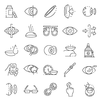 Contact lens icons set, outline style
