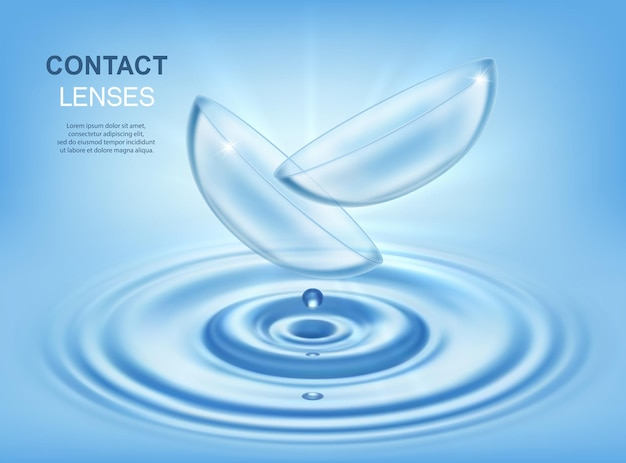 Contact lenses optic eye care accessory with water circles