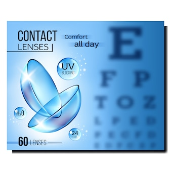 Contact lenses in special liquid banner
