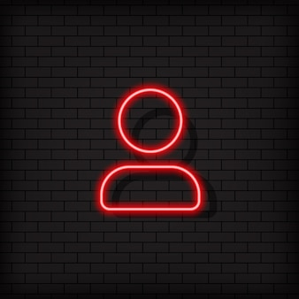 Контактный неоновый значок, кнопка. знак последователя. концепция социальных сетей. вектор на изолированном черном фоне. eps 10.