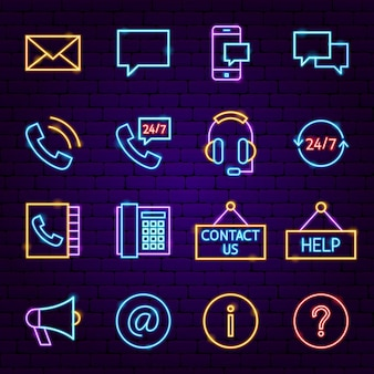 Contact neon icons. vector illustration of business promotion.