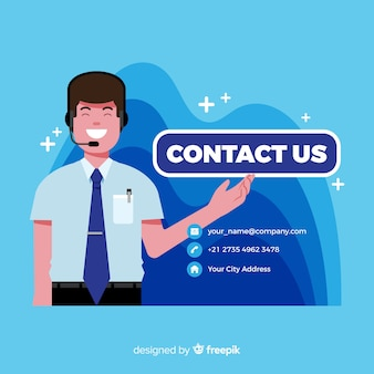 Contact us background flat design