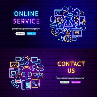Contact us banners. vector illustration of business promotion.