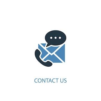 문의 개념 2 컬러 아이콘입니다. 간단한 파란색 요소 그림입니다. 컨셉 심볼 디자인에 문의하십시오. 웹 및 모바일 ui/ux에 사용할 수 있습니다.
