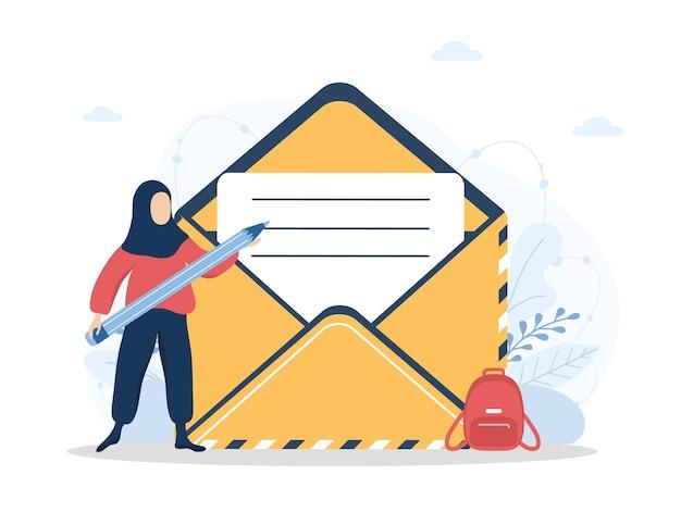 お問い合わせコンセプト。ヒジャーブのアラブの女性は、オンラインの顧客フィードバックフォームに記入します。