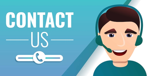 Contact us concept banner, cartoon style