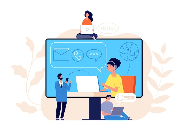 Contact us concept. business website, call center or help line community. creative people work modern support service vector illustration. business customer call assistance, support website