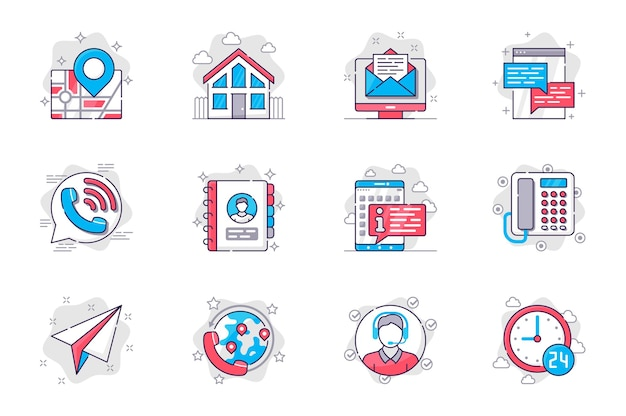 Свяжитесь с нами набор иконок плоской линии концепции связь с клиентом для мобильного приложения