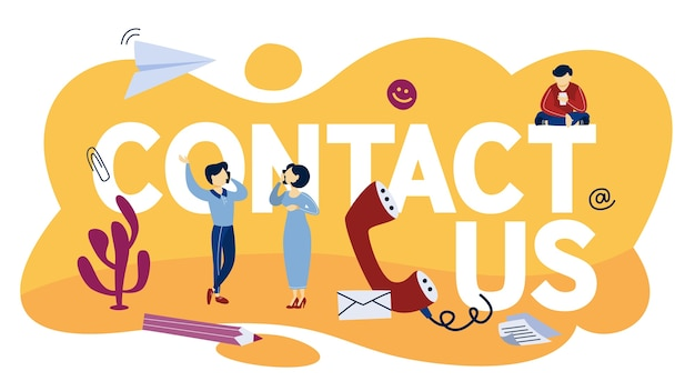 Contact us concept. idea of support service. assitant communication with customers and providing them with useful information online or by the phone call.    illustration