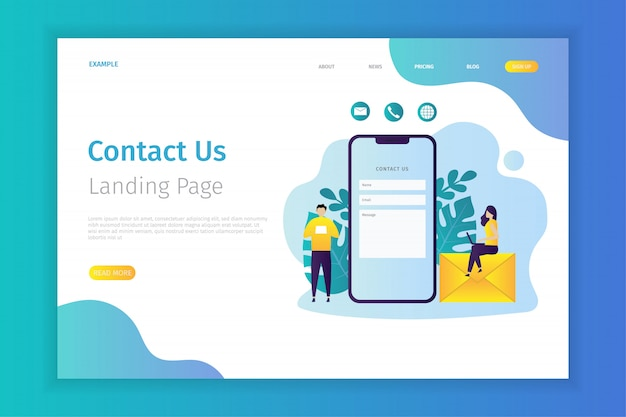Contact us concept landing page illustration.