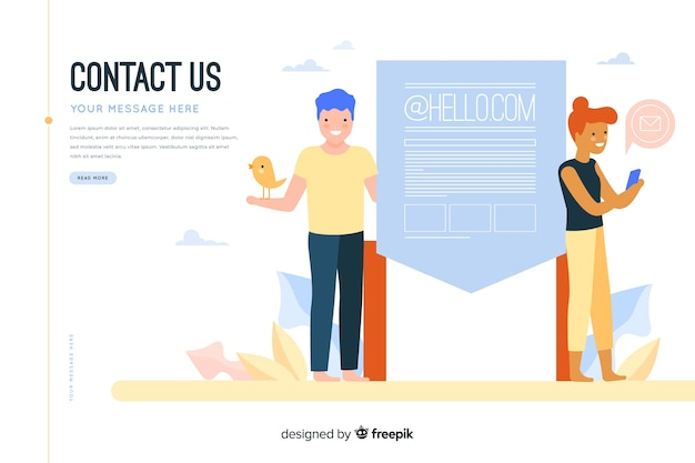 Contact us concept for landing page