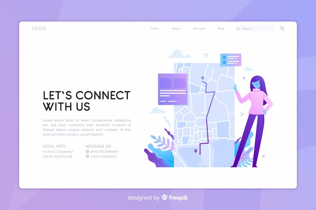 Contact us concept landing page