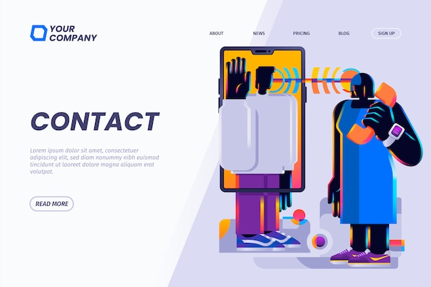 Contact us, customer service, customer support, illustration for landing page