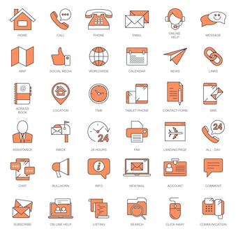 Contact us and customer support icon set