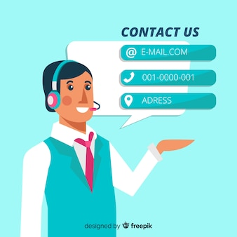 Contact us flat boy background