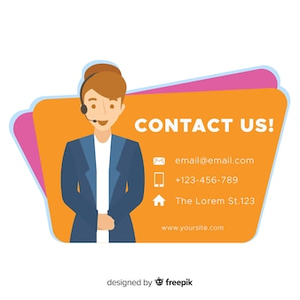 Contact us flat girl background