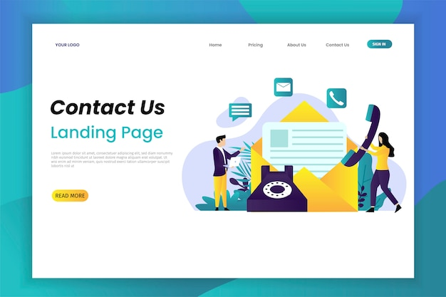 Contact us flat vector illustration concept landing page
