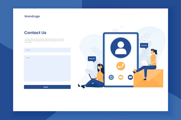 Contact us form illustration landing page