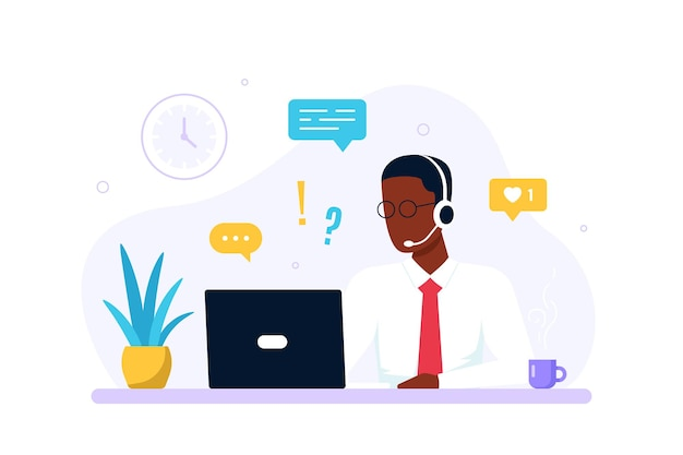 Contact us form template. caucasian man with headphones and laptop. support, assistance, call center