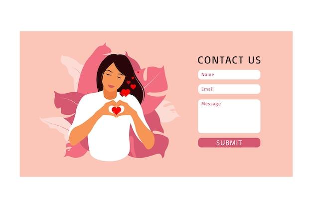 Webおよびランディングページのフォームテンプレートにお問い合わせください。セルフケアとボディポジティブコンセプト。フェミニズム、あなたの権利のために戦う、女の子の力の概念。平らな。