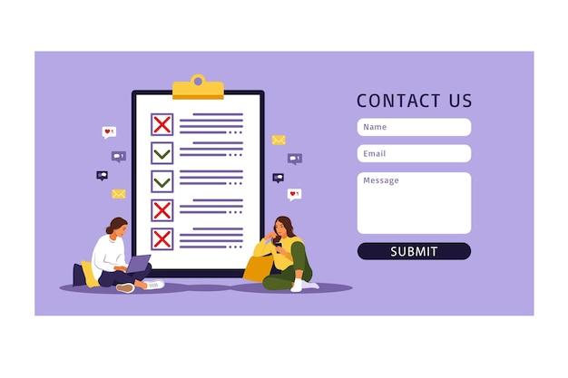 ウェブ用のフォームテンプレートにお問い合わせください。チェックリスト、やることリスト。リストまたはメモ帳の概念。ビジネスのアイデア、計画、またはコーヒーブレイク。