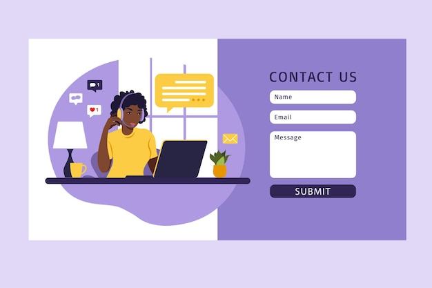 Contact us form template for web. african female customer service agent with headset talking with client. online customer support .