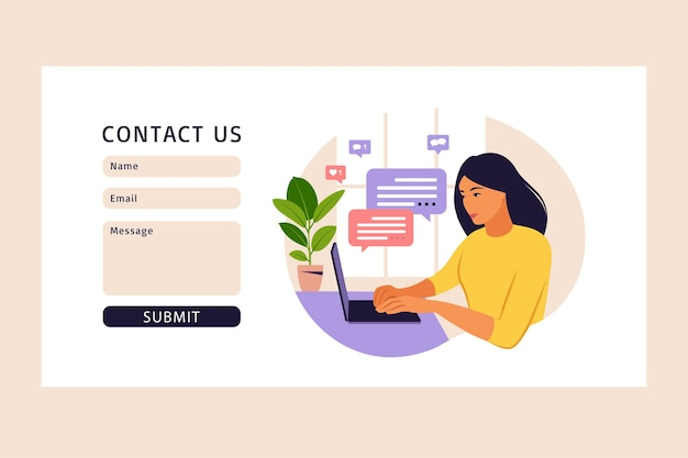 Contact us form template for web. freelancer girl working at home on laptop. online customer support, help desk concept and call center. illustration in flat design