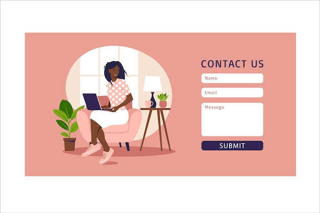Contact us form template for web and landing page. african female customer talking with client. online customer support, help desk concept and call center.  in flat.