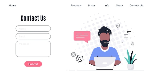 Contact us form template for web and landing page. black man with headphones and microphone with laptop.