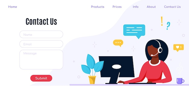 Contact us form template for web and landing page. black woman with headphones and microphone with laptop. concept illustration for support, assistance, call center.